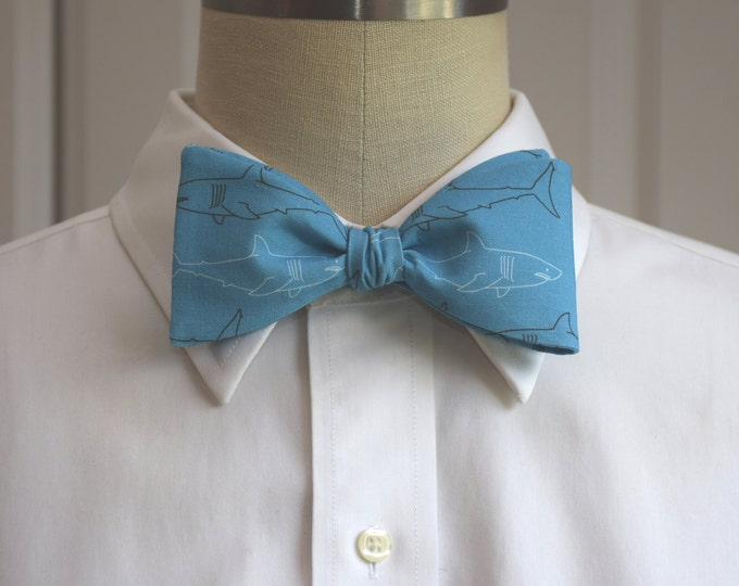 Men's Bow Tie, teal with Great White sharks, lawyer bow tie, ocean bow tie, shark bow tie, ocean bow tie, biologist bow tie, witty bow tie