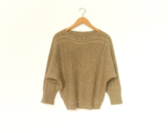 Vintage 80s Sweater Top Pullover / Batwing Sleeve / Light Brown / Knit Knitwear / Fall Winter / small medium