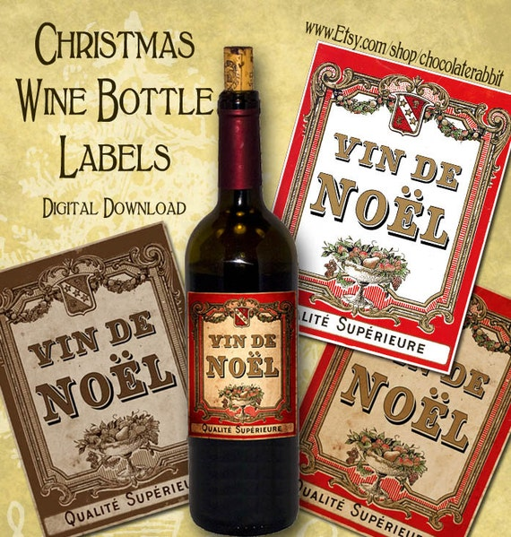 Christmas Wine Bottle Labels Tags Digital Download Printable