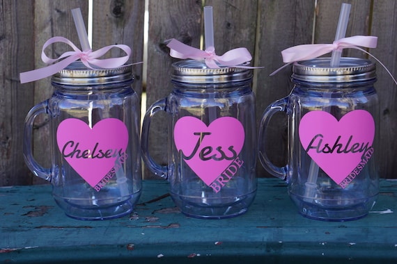 Mason Jar Tumbler Bridesmaid Bachelorette Party Favor Bridal Cups Set Of 10 Gifts Personalized