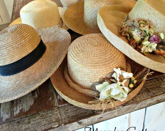 FaBuLouS CoLLeCTioN of FiVe ViNTaGe STRaW HaTS!