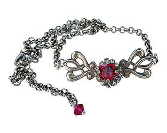 Ruby Red Boho Filigree Choker Style Necklace with Crystal from Swarovski, Vintage Filigree Fashion Choker