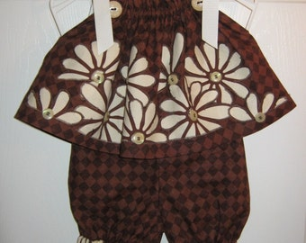 Chocolate Pillowcase Top with Matching Bloomers - 6 mth - clearance sale - 19.99