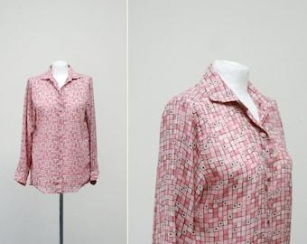 Benetton 1970s Button Down Blouse, Blush Pink Geometric Button Blouse Medium