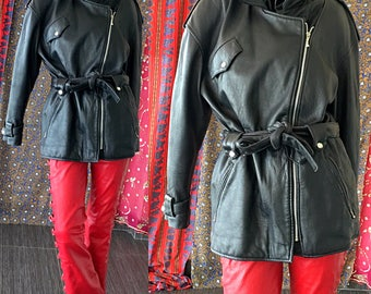 Biker Leather Jacket 80s Black Leather Motorcycle Jacket Cosa Nova Motorcycle Jacket