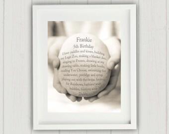Child's Birthday Gift, Personalized Birthday Gift, First Birthday Gift, Girl Birthday Gift, Unique Birthday Gift, Favorite Things Print