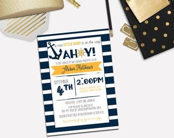 Nautical Baby Shower Gender Neutral Invitation, Navy and Yellow Shower Invite _1162