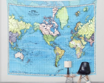 World map tapestry wall hanging vintage map grey and white world map tapestry wall hanging vintage mercator map blue green yellow beautiful map travel decor wall decor den bedroom library gumiabroncs Gallery