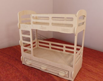 Bunk bed for Barbie dollhouse. Barbie-size 1:6 scale. Vector model for CNC router and laser cutting. Plywood. Doll furniture.  DXF, SVG.