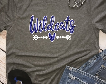 YOUTH Custom School Spirit Shirt, School Spirit Tee, Personalized School Spirit Shirt, Wildcats School Shirt, Team Shirt, Sports Team Shirts