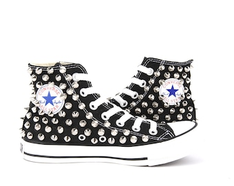 Original Converse AllStar Chuck Taylor high top studded  Converse stud sliver spike on BLACK Shoes