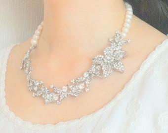 Secret Garden - Vintage Style Rhinestone and Freshwater Pearl Bridal Necklace