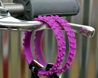 SET OF FIVE Purple Knobby Dirt Bike Tire Wristbands