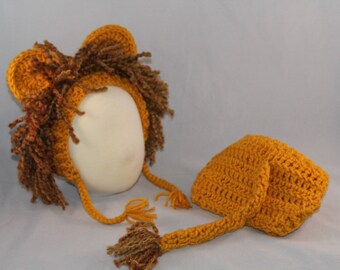 Lion Baby Outfit, Halloween Costume, Baby Set, Zoo Animal, Jungle Baby Set, Photo Props, Bonnet, Diaper Cover.
