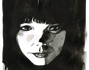 Björk portrait - original ink drawing