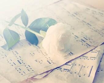 Sheet Music photo Digital Download Decorating Ideas Pastel Wall Decor sheet music and white rose pastel Wall Art Home Decor
