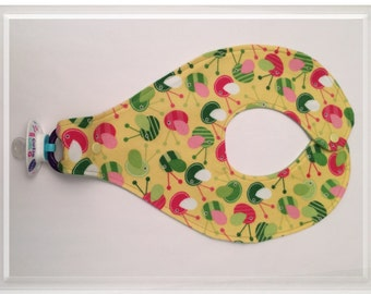 Baby Bib, Binky Bib, Soother Bib, Pacifier Bib-Colorful Critters-SALE