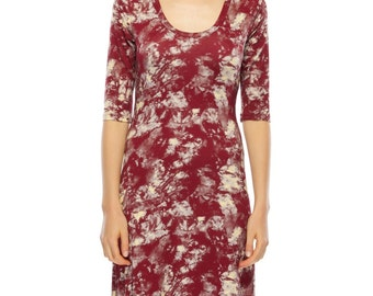 Flared out jersey dress - red tie dye