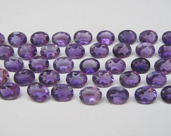 Natural Amethyst Faceted Cut Calibrated Oval shape loose semi precious gemstone size 7 x 9 mm code7383 - FOR ONE PIECE