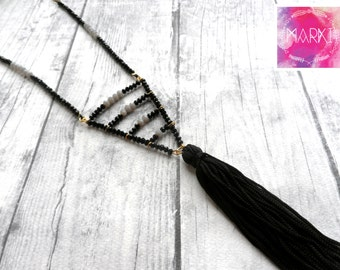 Tassel necklace, geometric necklace, beaded necklace, bohemian necklace, crystal necklace, everyday necklace, boho chic, girlfriend gift