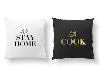 SET of 2 Pillows, Let's Stay Home Pillow, Bedroom Decor, Livingroom Decor, Throw Pillow, Let's cook, Cushion Cover, Gold Decorative Pillow