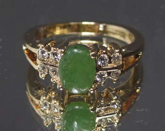 Vintage Sterling Silver Malachite Gemstone Ring Sz 8 M605