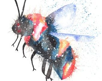 Bee ORIGINAL Watercolor Galaxy Spirit Animal 9X12