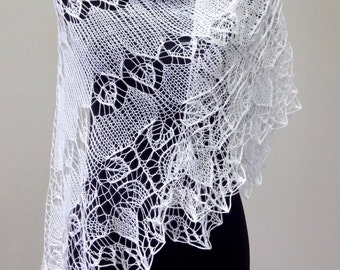 Lace Knit Shawl, Silk Merino Yarn, Hand knitting, Luxury Scarf, Handmade, Gift for Her, Special Occasion, Bohemian Wedding, Shoulders Wrap