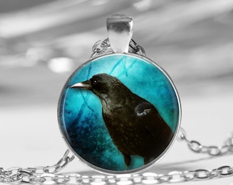 Raven on the Bayou Glass Dome Necklace or Key Chain Crow Halloween Jewelry Halloween Pendant  Halloween Raven Jewelry Crow Key Ring