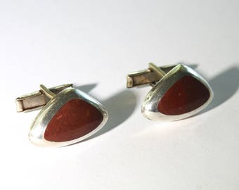 Mid Century Mexican Silver Agate Cufflinks