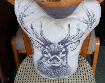 Woven Stag Design Filled Cushion. Grey Stag on Cream. Shaped Filled Cushion. Modern, Statement, Woven, Deer, Winter cushions.