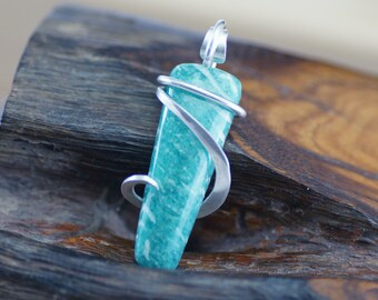 Russian Amazonite Petite Cold Forged Sterling Silver Pendant