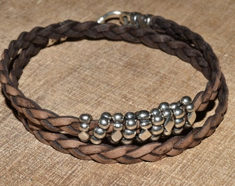 Distressed Leather Wrap Bracelet Sterling Boho 2x Braided Wrap Bracelet