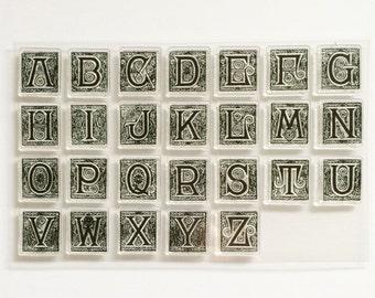 Gift for Her, Alphabet Stamps, Alphabet Stamp Set, Vintage Design Stamps, Letter Stamps, Alphabet Sets, Acrylic Stamp Set, Upper Case Stamp