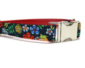 Garden Floral Dog Collar with Metal Buckle | Floral Dog Collar | Female Dog Collar | Liberty of London Fabric Dog Collar