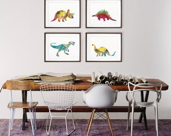 Dinosaur Art Watercolor Painting - Print Set of 4, Dinosaur Art Prints in Yellow, Blue, Red - Silhouette Art - Wall Decor, Home Decor, Gifts