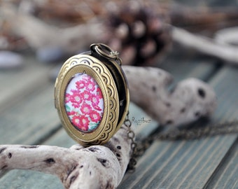 Pink flower locket - botanical brass locket, botanical jewelry, mother's day gift, resin flower pendant on a long chain - ready to ship