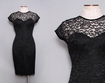 Jessica Howard Black Lace Dress Sheath Dress. 90s Cocktail Dress. Low Back Short Sleeve Dress. Party Dress Sweetheart Neckline. Small Medium