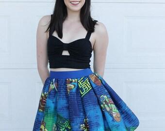 S Teenage Mutant Ninja Turtles Skirt, Vintage TMNT Skirt, TMNT skirt , Womens skirt, Vintage upcycle tmnt skirt, Ninja Turtle Skirt