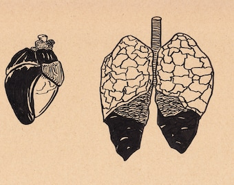 """Heart and Lungs - 8.5""""x12"""" - Original Illustration"""