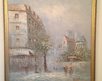 Caroline Burnett Original Oil Painting Signed and framed Parisian Street Scene