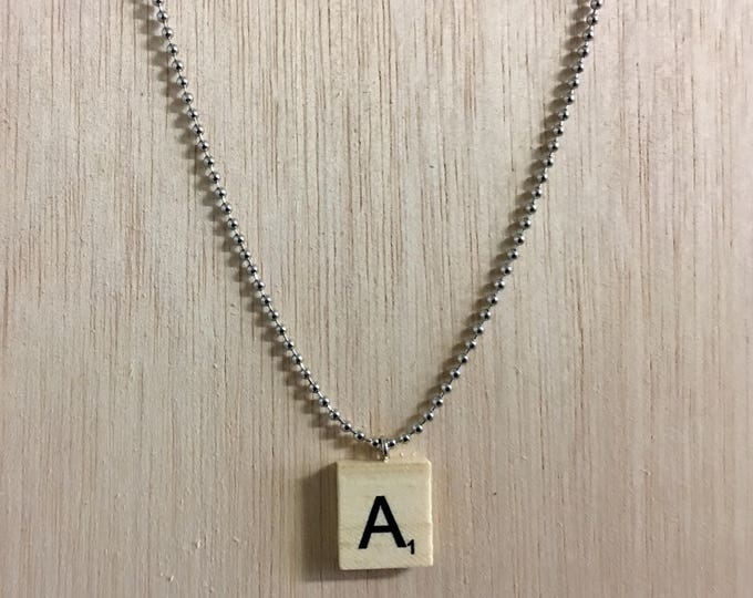 """Featured listing image: Handmade Wooden Scrabble Tile Necklace with 24"""" Adjustable Bead Chain!"""