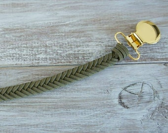 Braided Leather Pacifier Clip in Olive&Gold
