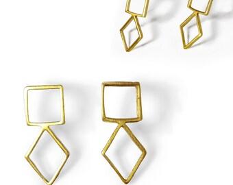 Gold Stud Earrings, Everyday Small 14K Earrings, Minimalist Geometric Jewelry, Christmas Present, Comfortable Post Earrings,