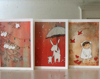 Snowflakes - Set of Six Blank Note Cards