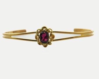 Amethyst Flower Cuff Bracelet