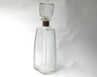 Modernist 1960s bar ribbed clear glass decanter bottle