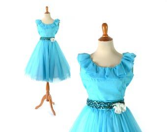 1960s Dress,  1960s Costume, 60s Dress, 60s Costume, Girls Dress, Turquoise Dress, Blue Dress, Vintage Dress, Dance Costume