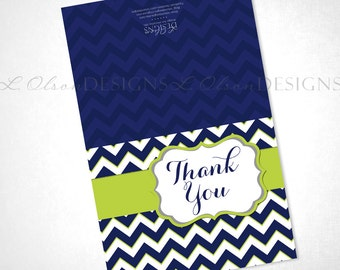 Chevron Navy and Lime Thank You - DIY Printable - INSTANT DOWNLOAD