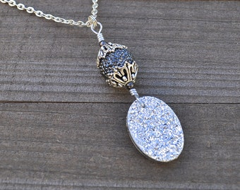 Silver Druzy Necklace Wire Wrapped With Black Rhinestone Cluster Crystal Bead Ornament Pendant Sparkling Drusy